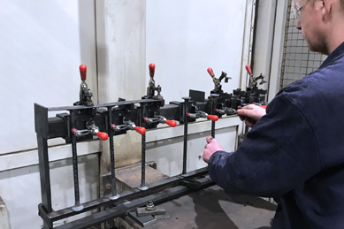 robot welded punching shear rails
