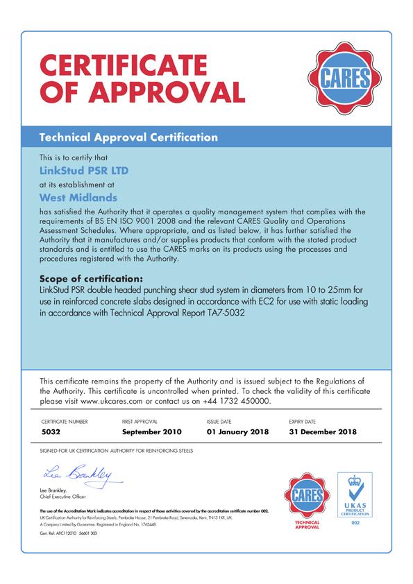 CARES EC2 Technical Approval - LinkStud PSR™