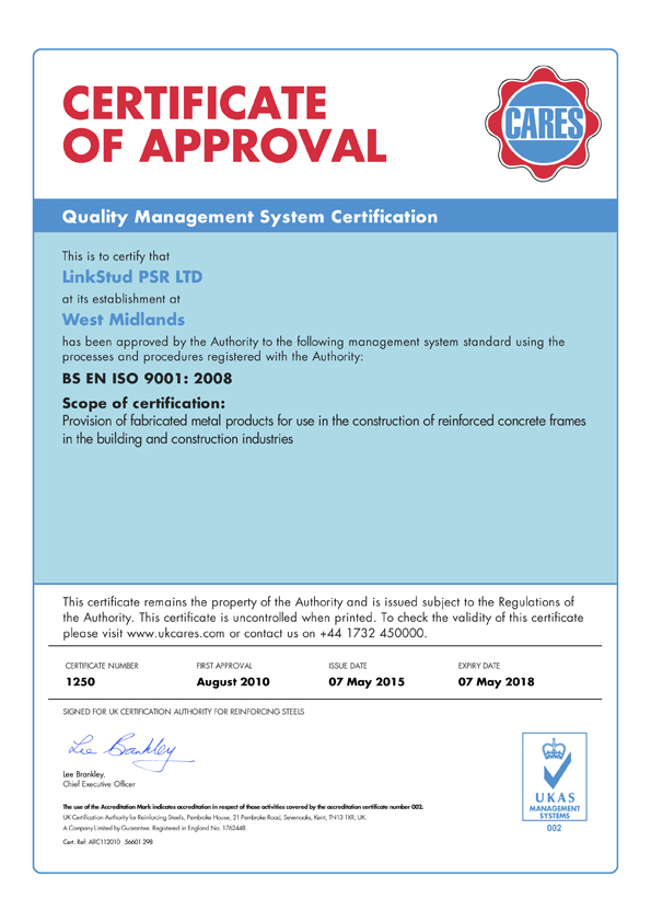 CARES ISO 9001:2015 Quality Approval - LinkStud PSR™